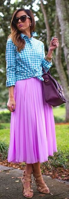 Pink Accordion Pleat Midi Skirt by Sequins & Things