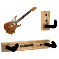 BARE Oak Angled Guitar Wall Hanger for electric guitars - Hang you guitar on the wall at an angle. on Etsy, $17.99