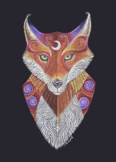 Fox Totem Art Print by Jennifer Hawkyard, Red Fox Art Hand-Embellished with Metallic Inks, Ideal Gift for Fox Lover Deer Tattoo, Fox Tattoos, Tree Tattoos, Raven Tattoo, Tattoo Ink, Arm Tattoo, Sleeve Tattoos, Hand Tattoos, Fox Totem