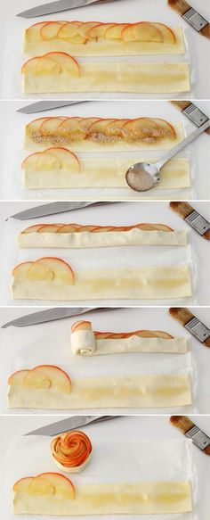 High tea - Apple roes - How to: Appelroosjes Creative Food, Food Inspiration, Love Food, Sweet Recipes, Easy Recipes, Food To Make, Food Porn, Dessert Recipes, Fruit Recipes