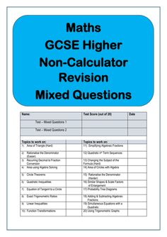 Maths GCSE Higher Non-Calculator Questions. This pack includes two 20 question diagnostic tests covering 20 different topics. The tests are aimed at GC. Gcse Maths Revision, Gcse Exams, Maths Exam, Math Test, Mortgage Protection Insurance, Math Questions, Test Prep, Calculator, Teaching Resources