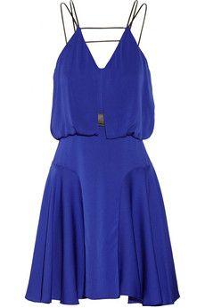 Milly Leather-trimmed stretch-silk dress | NET-A-PORTER