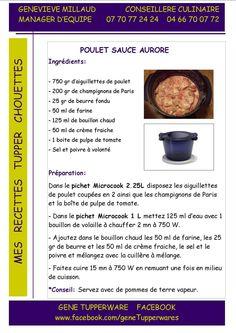 poulet sauce aurore Tupperware Micro Onde, Tupperware Recipes, Recipies, Cooking, Sauce, Micro Minute, Food, Cupcakes, Microwaves