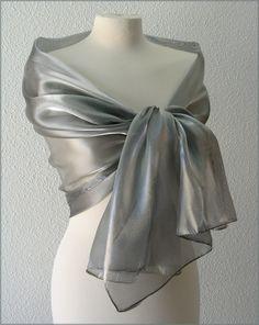 Etole- écharpe-foulard - Organza Gris Argent - Cérémonie, mariage, cocktail dc876755798