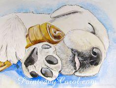 Yellow Lab Print  Puppy Dreams Labrador by PaintedbyCarol on Etsy