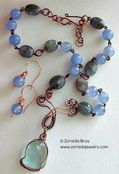 Blue Obsidian Jade and Aquamarine necklace set by Zoraida - Art Fire - kjs
