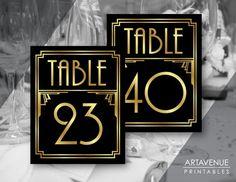 Art Deco Party Table Number Signs Printables, Gatsby Wedding, Roaring Twenties Party Decor, Art Deco Party Supplies - Black and Gold - Gatsby Wedding Decorations, Great Gatsby Wedding, Art Deco Wedding, Trendy Wedding, Wedding Ideas, Cinema Themed Wedding, Great Gatsby Themed Party, 1920s Wedding, Wedding Themes