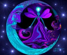 "Abstract Angel, Energy Art, Purple Night Art, Moon and Star Art, Reiki Wall Decor, """"The Mystic"""""