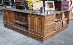 Antique Chestnut General Store Counter With a little work this would be perfect in a kitchen!