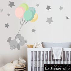 Tierno osito con globos - Vinilos infantiles