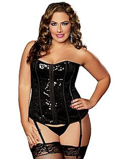 corsets-bustiers - Sparkle and Shine Bustier Take an Extra 20% Off at Plus Size Lingerie using Coupon and Promo Codes