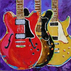 Colorful Guitar Painting, by Texas Artist Laurie Pace