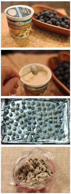 FROZEN BLUEBERRIES – I love this idea. Simply dip fresh or frozen blueberries (frozen are CHEAP!) in Greek yogurt (I like mine with a little honey or agave) and freeze on a cookie sheet.  Onc…