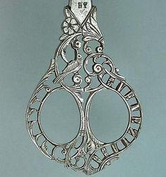 Ornate Antique Italian Steel Filigree Embroidery Scissors Circa 1890