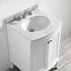 The Awesome Web Vinnova Verona in W x in D x in H Vanity in White with Marble Vanity Top in White with Basin