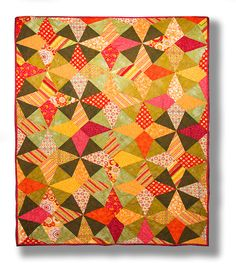 Citrus Cancan quilt by Marsha Bray.  Pattern and ruler by Aardvark Quilts.