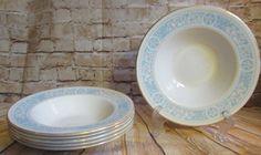 Vintage Royal Doulton Hampton Court Set of 6 Wide Rimmed Soup Bowls Blue & Gray #RoyalDoulton