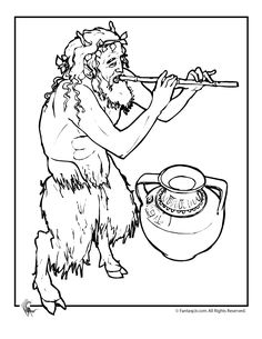 faun pan playing the flute with a vase greek mythology free coloring