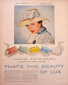 1958 Lux Soap Erin O'Brien Vintage Advertisement Bathroom Wall Art Laundry Room Decor Original Magazine Print Ad Celebrity Paper Ephemera by RelicEclectic on Etsy