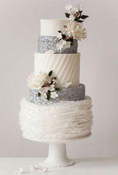 Tartas de Boda - Wedding Cake - All the different textures on this white & silver wedding cake are divine! // Cake by Jenna Rae Cakes Beautiful Wedding Cakes, Gorgeous Cakes, Pretty Cakes, Amazing Cakes, Magical Wedding, Wedding Cake Inspiration, Wedding Ideas, Rustic Wedding, Elegant Wedding