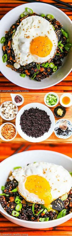 Kimchi Fried Forbidden Rice with Black Garlic - this one bowl meal is absolutely delicious! Spicy, sweet and full of flavor ~ http://jeanetteshealthyliving.com