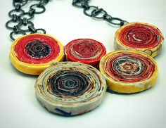 rosett necklac, anthropologi necklac, recycl magazin, crafti, magazin necklac, necklaces, diy, jewelri, recycled magazines