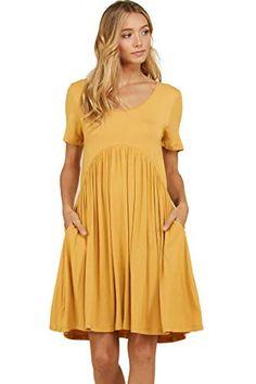f87f43744ecf2 Annabelle Women's Plus Size Short Sleeve Scoop Neck Pleated Empire Waist  Mini Dress with Pockets Mustard