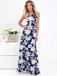 Women Floral Maxi Dresses Sexy Summer Halter O Neck Backless Resort Wear Print Long Beach Dress Slim Fit Party Dress Vestidos Open Back Maxi Dress, Dress Me Up, Beauty And Fashion, Look Fashion, Fashion Women, Dress Fashion, Beauty Buy, French Fashion, Fast Fashion