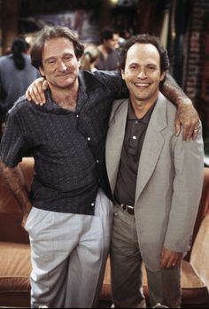 "Robin Williams and Billy Crystal on the set of ""Friends"""