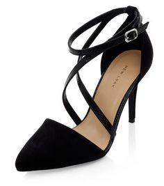 Black Cross Strap Pointed Heels