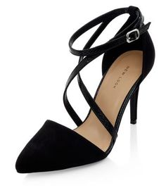 Black Cross Strap Pointed Heels