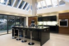 Modern Kitchen Floor Plans Design Ideas With Recessed Lighting And White Wall Paint Color Also Using Glass Window