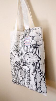 Handmade Printed Cotton Canvas Tote Bag with Mushroom by CarlaAdol Amazing Things, Canvas Tote Bags, Printed Cotton, Cotton Canvas, Totes, Stuffed Mushrooms, Reusable Tote Bags, Graphics, Trending Outfits