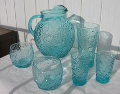 Vtg ANCHOR HOCKING Teal Aqua Blue LIDO MILANO BALL PITCHER ICE & 6 Matching Glasses at flea market today...don't find these in complete sets often....