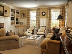 Traditional Living Room Interior Design trim / millwork for two story windows..cathedral living room