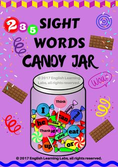 Sight Words Candies Collection! An amazing pack of 235 sight words for students from pre-K to grade 3. A resource which can be used over years and kids will fall in love with.