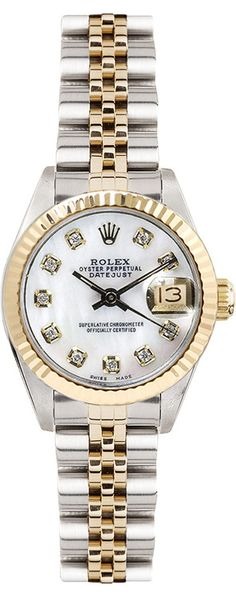 Rolex Women's 26mm Datejust Two Tone Fluted Custom Mother of Pearl Diamond Dial - Luxury Of Watches