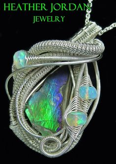 Wire-wrapped Ammolite Pendant In Tarnish-resistant Sterling Silver With Ethiopian Welo Opals - 13 Jewelry by Heather Jordan