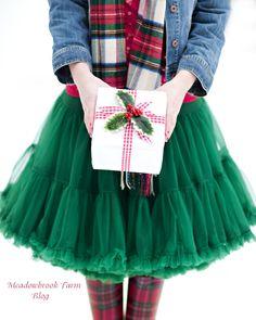 red tartan tights and green petticoat skirt Tartan Christmas, Merry Little Christmas, Plaid Christmas, Country Christmas, Christmas And New Year, All Things Christmas, Winter Christmas, Vintage Christmas, Xmas