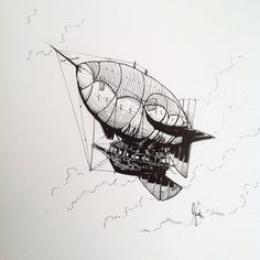 Now for a more traditional #airship. Drawn by @jamesonart this #penandink #illustration has the archetypal #zeppelin design some really great shading and detail and... a lot of ropes! Great #Inktober piece James!
