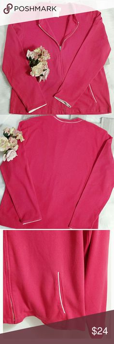 Talbots Zip Front Jersey Jacket Talbots zip front jersey jacket size medium.  Pinkish red with white trim at front pockets and sleeves. Soft and stylish. (#D656) Talbots Other