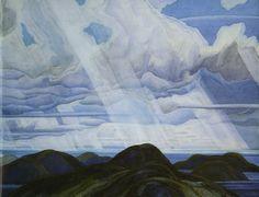 Snow Flurries, North Shore of Lake Superior : Franklin Carmichael : Art Nouveau (Modern) : cloudscape - Oil Painting Reproductions Group Of Seven Artists, Group Of Seven Paintings, Tom Thomson, Maurice Denis, Paul Cézanne, Edouard Vuillard, Canadian Painters, Canadian Artists, Paul Gauguin