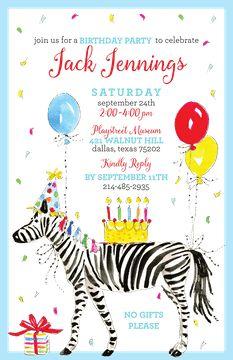 Kids Birthday Invitations - partyinvitations.com Zebra Birthday, Zebra Party, Birthday Invitations Kids, Free Paper, Invitation Design, Coupon Codes, Card Stock, Envelope, Shapes
