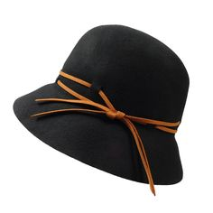 "Double leatherette tie. 2.5"" wide brim. Adjustable drawstring inside. One size fits most. 100% wool felt."