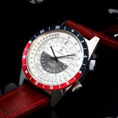 1969 OLLECH & WAJS Swiss Moon Orbiter Vintage Sliderule Watch 17j 24h FHF Cal 72