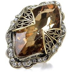 Golden Shadow Navette Crystal & Bronze Ring ($33) ❤ liked on Polyvore featuring jewelry, rings, sparkle jewelry, crystal stone jewelry, wide-band rings, crystal jewellery and crystal stone rings