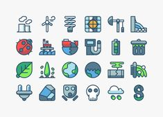 A free set of 24 meaningful and carefully designed vector icons with an environmental theme covering topics of (renewable) energy and pollution.