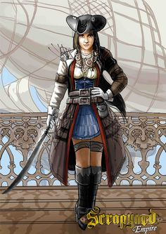Captain Minerva isn't one of those women who fears getting her hand dirty. Play her character in Scrapyard Empire - http://www.scrapyardempire.com #steampunkgirls #steampunkcharacter #steampunkpirate