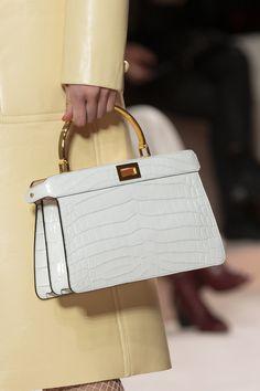 Fendi at Milan Fashion Week Fall 2020 - Details Runway Photos Fashion Handbags, Purses And Handbags, Fashion Bags, Runway Fashion, Milan Fashion, Big Purses, Fabric Handbags, Cheap Purses, Fall Fashion