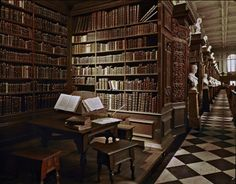 The Wren Library of Trinity College in Cambridge, Great Britain